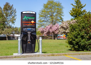 Lake Tekapo, Canterbury, New Zealand - October 21 2018: Rapid car charger station for electric cars