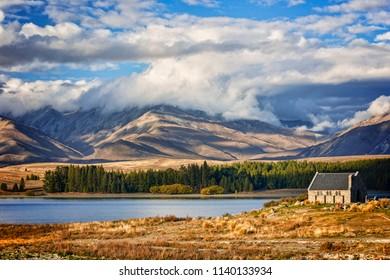 Lake Tekapo and the Church of the Good Shepherd, Canterbury, New Zealand, and the Two Thumb Range. Tekapo is a popular tourist destination.