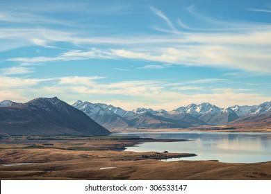 Lake Tekapo with Meadow and Mountain, South Island, New Zealand