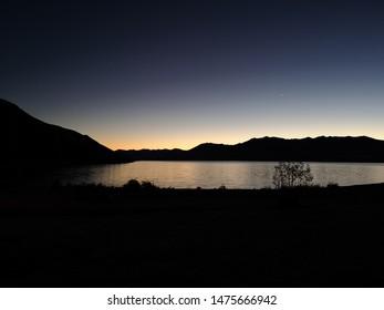Lake Tekapo, New Zealand - 24 May 2019. Sunset over lake Tekapo.
