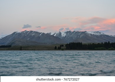 Lake Tekapo with snowy mountains