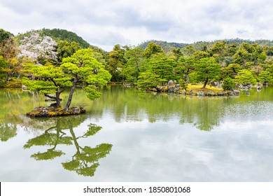 Lake in temple or shrine garden with island and bonsai tree and moss in Kyoto, Japan during spring on cloudy day with refelction landscape view