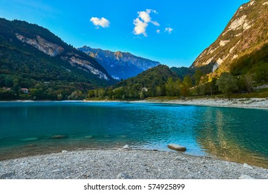 Lake Tenno with mountain reflection in water.Trento,Italy, Europa. Turquoise lake in the mountains