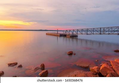 Lake Thunderbird Smooth Water, Norman Oklahoma USA.