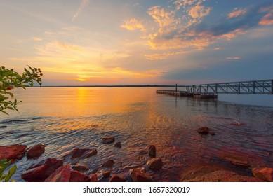 Lake Thunderbird in the state of Oklahoma USA,Water supply lake.