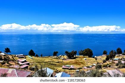 Lake Titicaca as seen from Taquile Island. Peru.