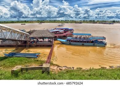 LAKE TONLE SAP, COMBODIA - 28.06.2017: Chong Knies Village, Tonle Sap Lake, the largest freshwater lake in Southeast Asia