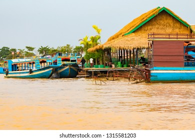 LAKE TONLE SAP, COMBODIA - Floating houses in floating Village at Tonle Sap Lake the largest freshwater lake in Southeast Asia in Unesco