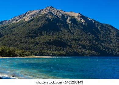 Lake Traful. Patagonia, Argentina. Pier on Lake Traful. Villa Traful, enchanted place. Patagonia, Argentina.