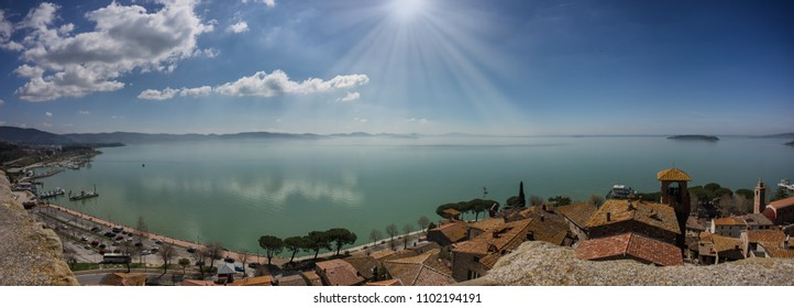 Lake Trasimeno panorama from Passignano, Umbria Italy