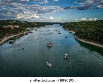 Lake Travis in Austin, Texas featuring boats and docks.