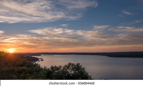 Lake Travis During Sunset with Clouds in the Sky