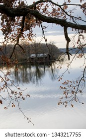 Lake in Trebon, The Czech Republic, Europe, with a small Island with a Cabin. Framed with tree branch in front with autumn leaves