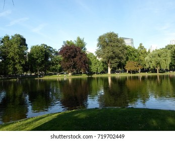 Lake, trees and grass, Boston Public Garden, Boston, Massachusetts, USA