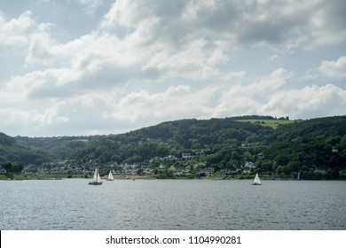 Lake trip in Eifel National park, Rurberg, Simmerath area, Germany