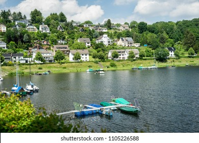 Lake trip in Rurberg, Simmerath, North Rhine Westphalia, in the Eifel National Park in Germany