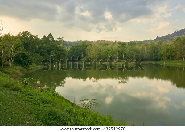 Lake and tropical rain-forest in cloudy day morning.