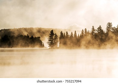 Lake of two rivers algonquin national park ontario canada sunset sunrise with fog foggy mystical atmosphere background