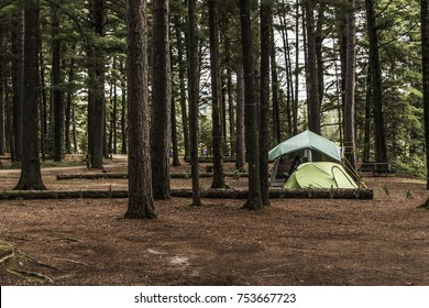 Lake of two rivers Campground Algonquin National Park a Beautiful natural forest landscape Canada tent camper
