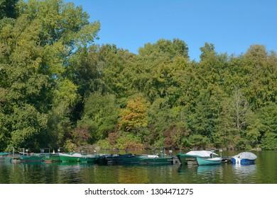 Lake Unterbacher See in Duesseldorf,Rhineland,North Rhine westphalia,Germany