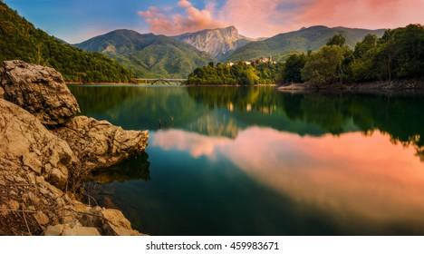 Lake of Vagli, panoramic view at sunset
