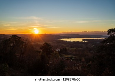 Lake Varese. Sunset and pastel color
