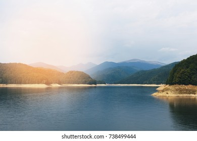 Lake Vidraru at Fagaras Mountains. Romania