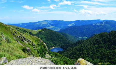 Lake view with alpine background, Vosges, Alsace, France