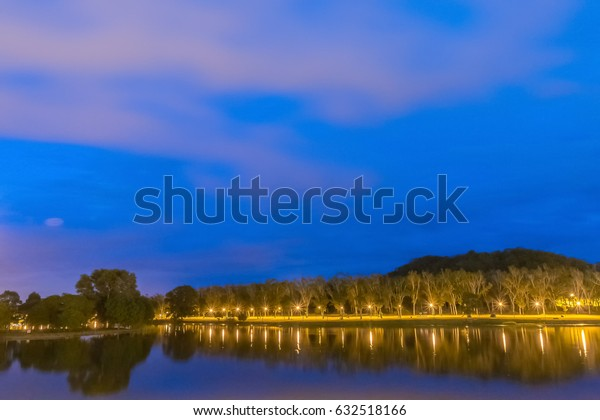 Lake view in the blue hour.