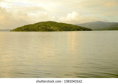 Lake view in Costa Rica with Santa Elena Island, lake Arenal, in the background.