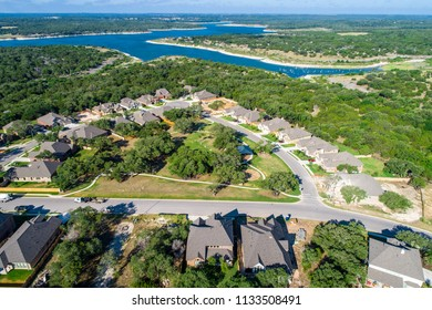 Lake view homes Georgetown , Texas Aerial drone view above suburb development with amazing view of Georgetown Lake and surround Texas Hill Country with homes and houses