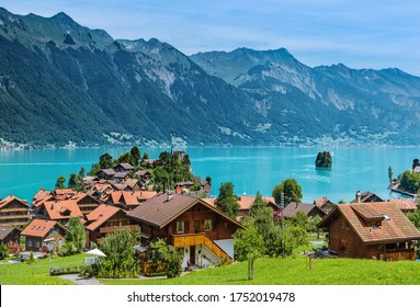 Lake view with houses in Switzerland