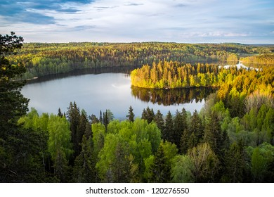 Lake view from the lookout tower in Finland