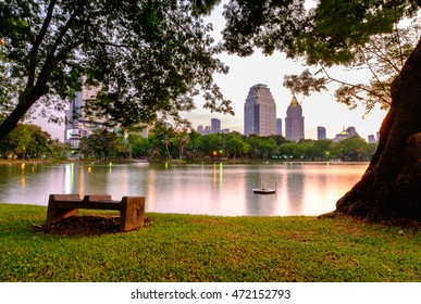 Lake view of Lumpini Park in the Thai capital's city centre in Bangkok, Thailand. Lumpini Park covers 142 acres with 2.5 km of pathways and a large boating lake.