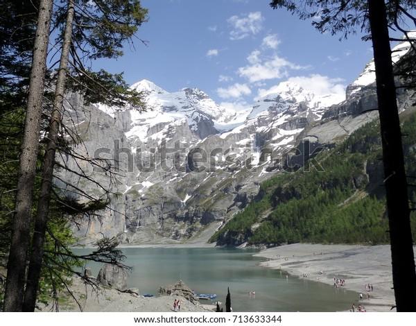Lake View Mountain Background Wallpaper Stock Photo Edit