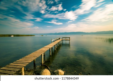 lake view and pier. Van golu, Turkey