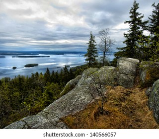 Lake view from the top of Koli national park in Finland