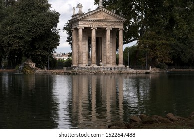 The lake of Villa Borghese, the temple of Aesculapius.