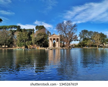 Lake in Villa Borghese with a view on Temple of Aesculapius