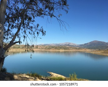 Lake Vinuela, Malaga, Andalusia, Spain. September 12th 2017, Mid afternoon shot of Lake Vinuela, which is actually a reservoir.