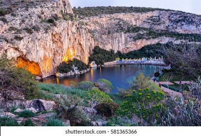 Lake Vouliagmeni near south Athens, Greece, after sunset