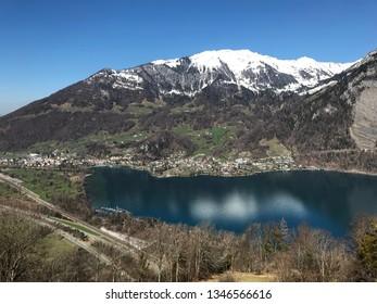 Lake Walensee in the Alps of Switzerland, Village Weesen