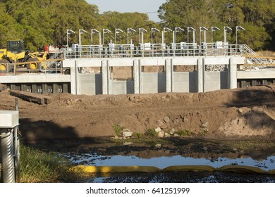 LAKE WALES, FL, USA - MARCH 15, 2017: Water control facility is under construction on the Zipprer Canal in Lake Kissimmee State Park, Florida.