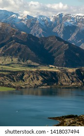Lake Wanaka city with snow mountains background from Roy's Peak in Wanaka in Otago Region in south island of New Zealand