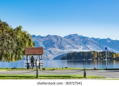 Lake Wanaka in the morning ,South Island New Zealand
