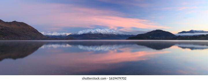 Lake Wanaka Sunrise Panorama. South Island New Zealand