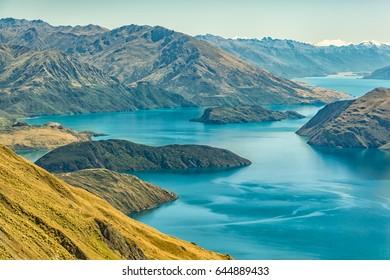 Lake Wanaka, view from Roys Peak. New Zealand