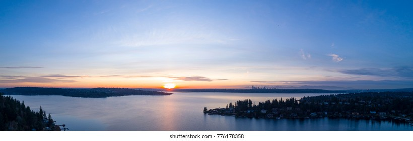 Lake Washington Panoramic View From Bellevue to Seattle
