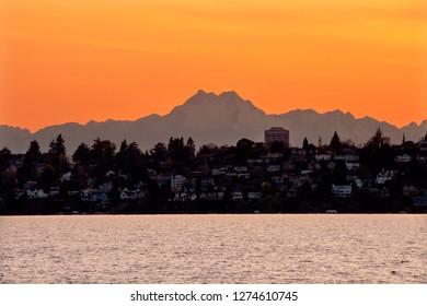 Lake, Washington State Mount Olympus Seattle Sunset from Kirkland, Washington State Close-up Evergreen