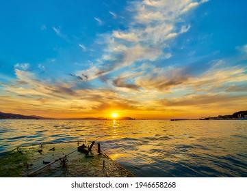 Lake water horizon dawn landscape. Lake horizon at dawn. Sunrise lake horizon dawn - Shutterstock ID 1946658268